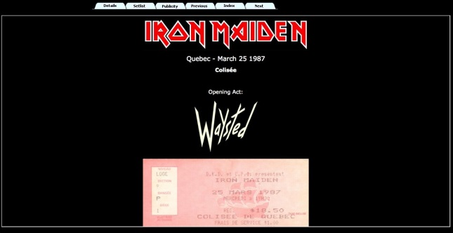 An example of a concert page. Additional tabs can be added for pictures or videos.